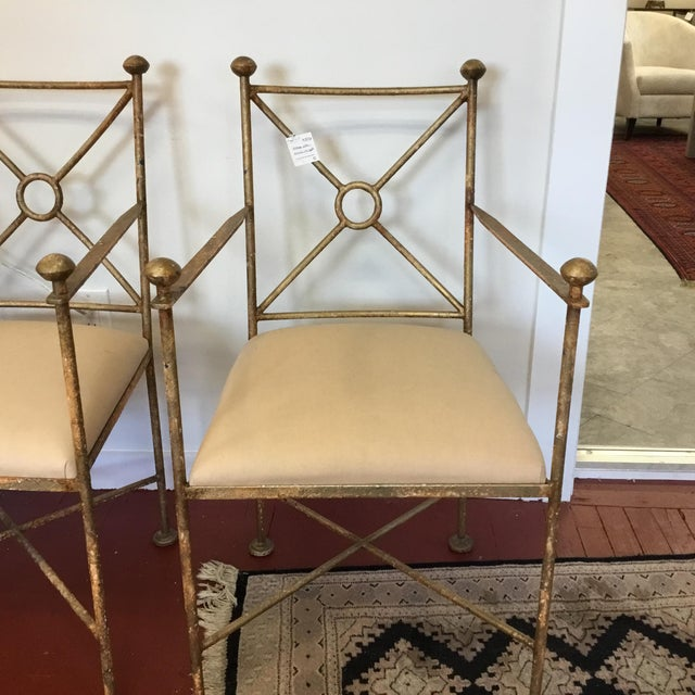 Vintage Gilt Iron Chairs - A Pair - Image 3 of 8