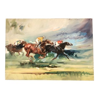 Original Vintage Horse Racing Impressionist Painting Signed 1970's For Sale