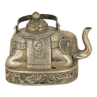 Tibetan Elephant Sterling Silver Teapot For Sale