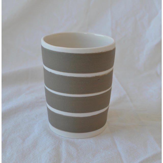 Contemporary Ceramic Multi Striped Cylindrical Vessels - Group of 5 For Sale - Image 12 of 13