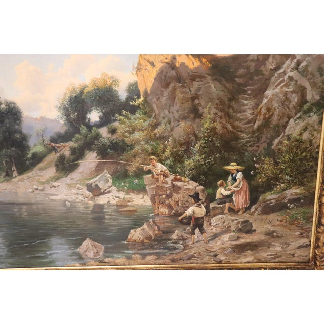 Gold 19th Century Antique Italian Oil Painting on Canvas Impressionist Landscape For Sale - Image 8 of 9