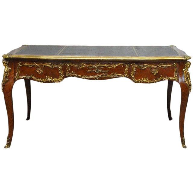 Louis XV Style Ormolu Mounted Figural Bureau Plat Desk For Sale
