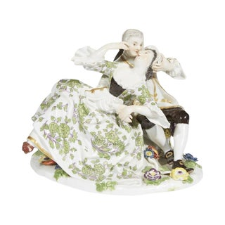 19th Century Antique Meissen Porcelain Figural Group of a Courting Couple For Sale