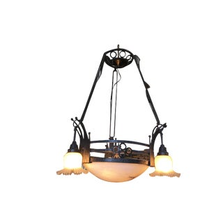 Black Iron Tole 7 Light Chandelier With Alabaster and Acid Patina For Sale