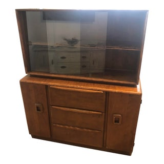 1950s Heywood-Wakefield Mid Century Maple Cabinet & Display Hutch For Sale