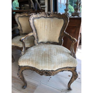 Incredible Museum Quality Pair of Lacquer and Giltwood Carved French Armchairs Preview