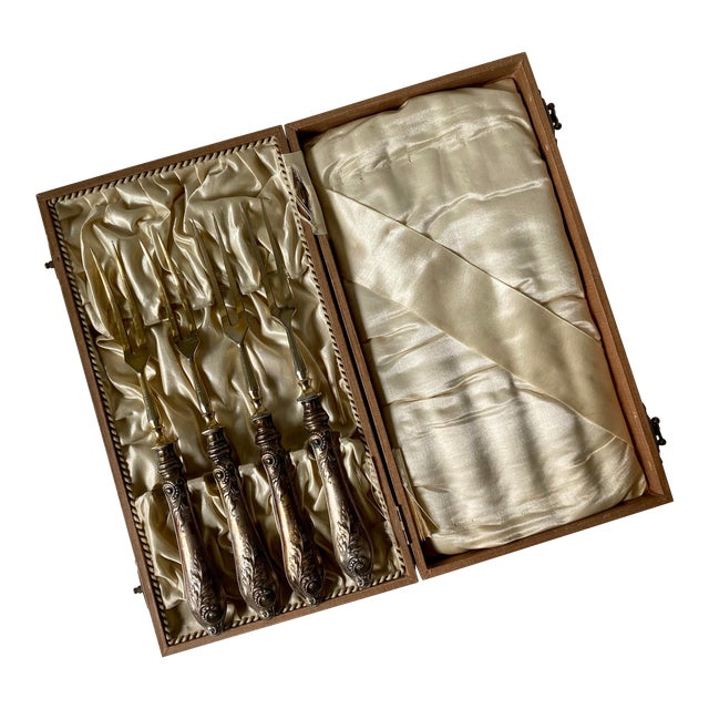 Antique 800 Silver Meat Forks by Stahl in Box - Set of 5 For Sale