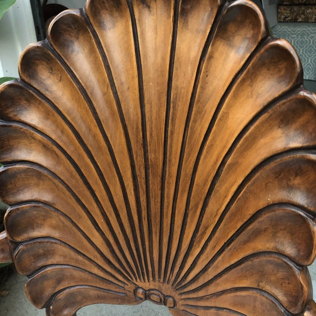 1970s Vintage Italian Hand Carved Shell Chairs- A Pair For Sale - Image 4 of 5
