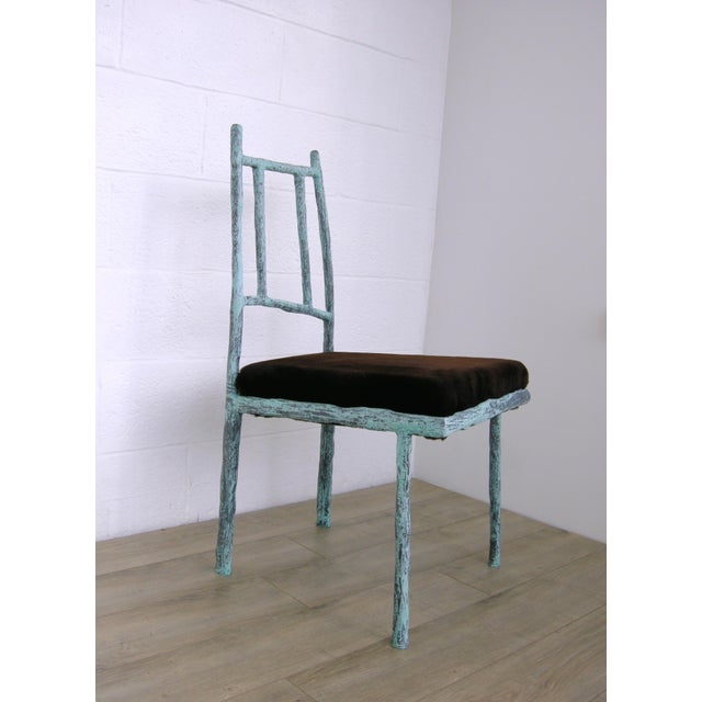 Zuckerhosen Sculptural Ceramic and Steel Side/Dining Chair With Recycled Fur Upholstered Seat by Zuckerhosen For Sale - Image 4 of 4