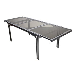 Smoked Glass & Chrome Expandable Dining Table For Sale