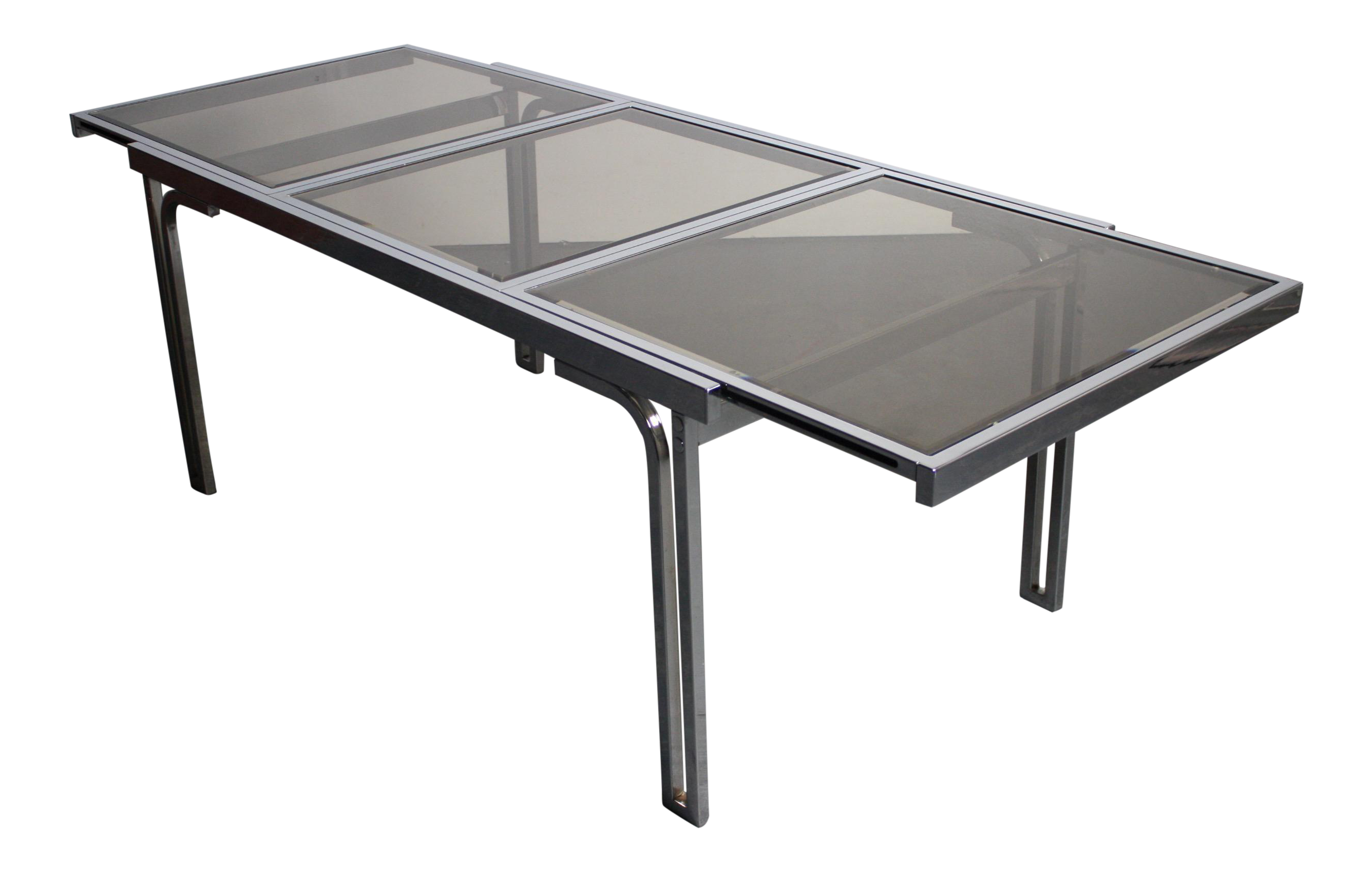 Smoked Glass U0026 Chrome Expandable Dining Table