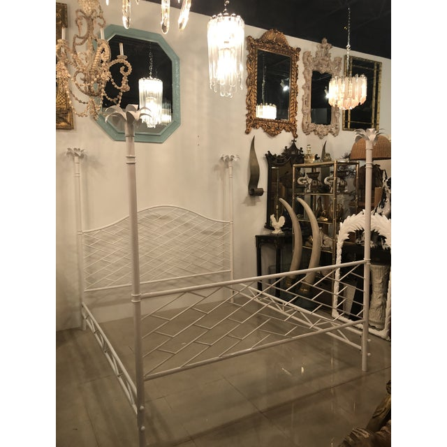 Amazing vintage Chinese Chippendale king-size four-poster bed post bed. Palm tree leaf finials. All metal, newly...