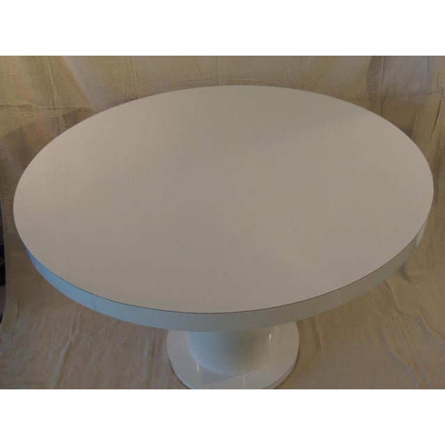 Wood Vintage White Formica Circular Dining Table For Sale - Image 7 of 9