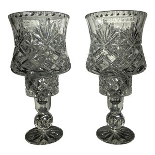 Crystal Hurricane Candleholders - A Pair For Sale
