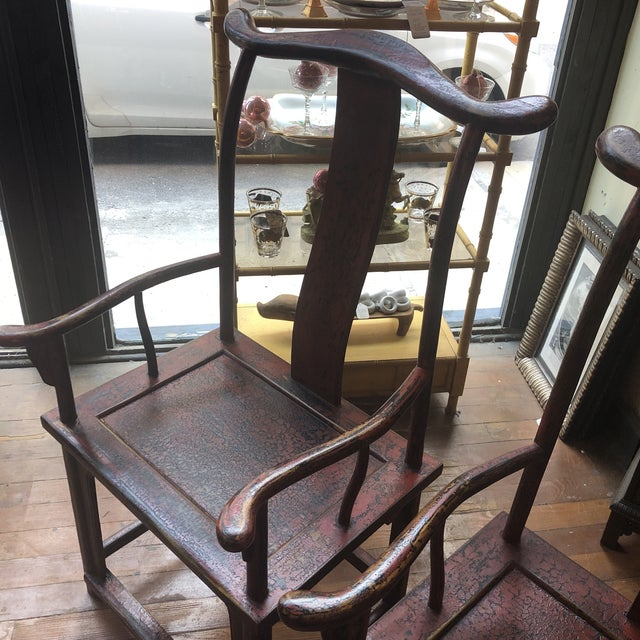 Asian Red Empire Chairs- a Pair For Sale - Image 3 of 13