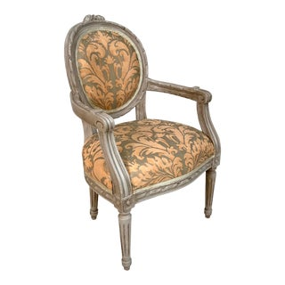 1940s French Painted Louis XVI Maison Jansen Attributed Child's or Doll's Armchair For Sale