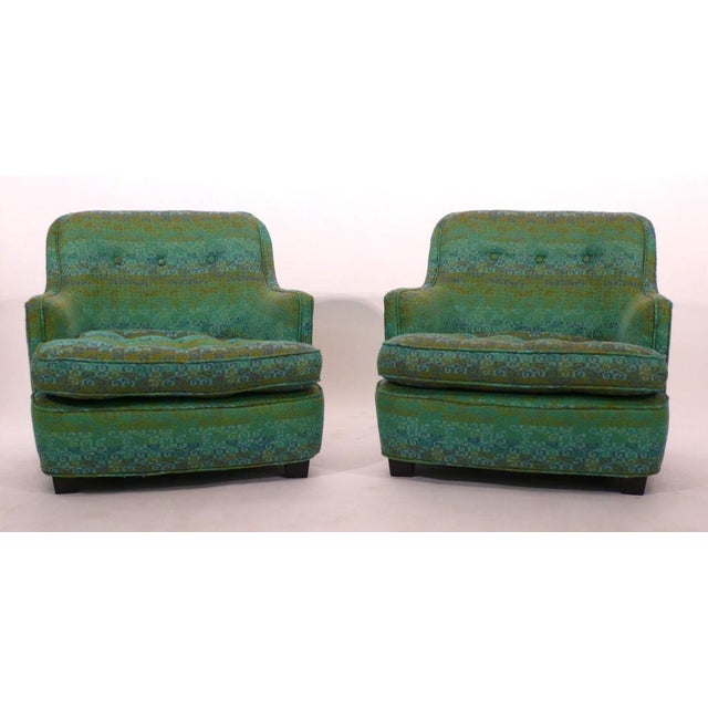 Rare and unusual diminutive low club chairs by Edward Wormley for Dunbar. Original upholstery. Extremely comfortable and...