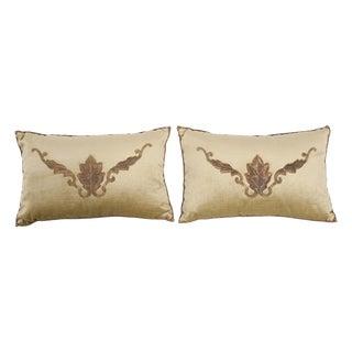 B. Viz Design Antique European Embroidered Velvet Textile Pillows - a Pair For Sale