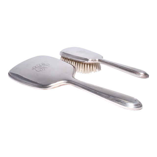 Art Deco Gorham Sterling Silver Hand Mirror & Brush Set For Sale