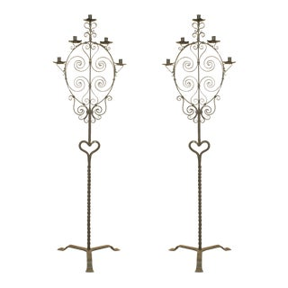 Italian Renaissance Style Wrought Iron Floor Torchieres - a Pair For Sale