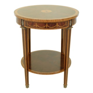 Round Inlaid Mahogany Federal Style Lamp Table For Sale