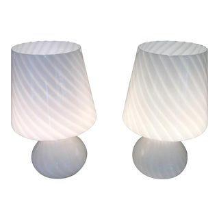 Attractive and Unusual Pair of Murano White Glass Lamps For Sale