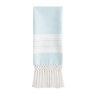 Sky Blue Ikat and Striped Chiapas Towel For Sale