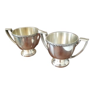 Antique Silverplated Creamer & Sugar Bowls - A Pair For Sale