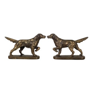 Art Deco Bronze-Plated Pointer Dog Bookends, C.1940 For Sale