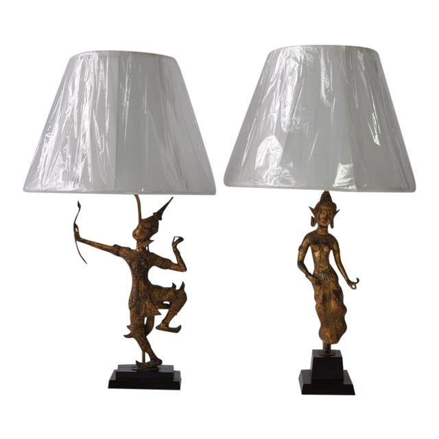Collection of Vintage Thai Figure Lamps For Sale