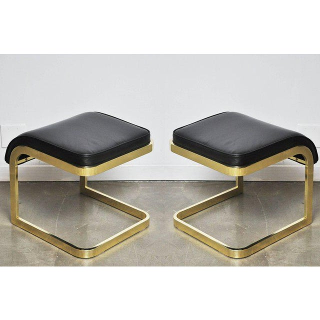 Mid-Century Modern Brass and Leather Stools by DIA For Sale - Image 3 of 10