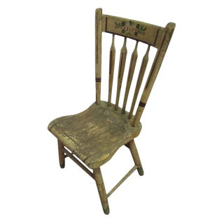 Stenciled Vintage Wooden Chair For Sale