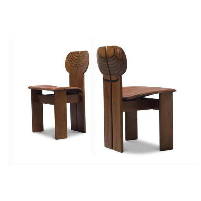 """Walnut """"Africa"""" chairs by Afra & Tobia Scarpa for Maxalto, Italy, 1975. The sculptural chairs show many beautiful details,..."""