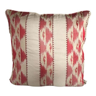 Kim Salmela Red and Beige Embroidered Pillow For Sale