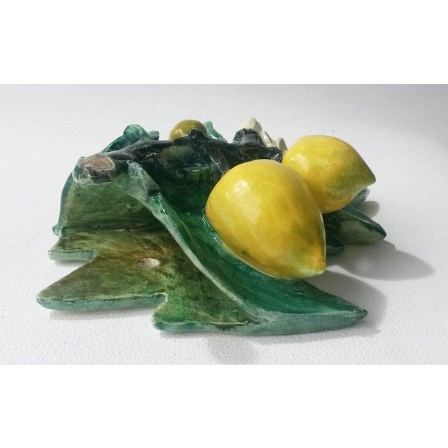 Country 1890s Rare Majolica Delphin Massier Lemons Applique For Sale - Image 3 of 7