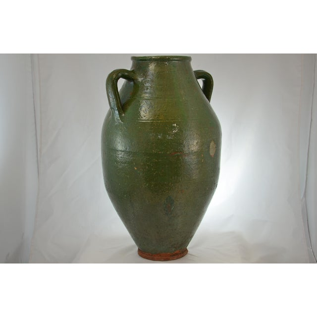 Turkish Oversize Dark Green Glazed Urn For Sale In Chicago - Image 6 of 9