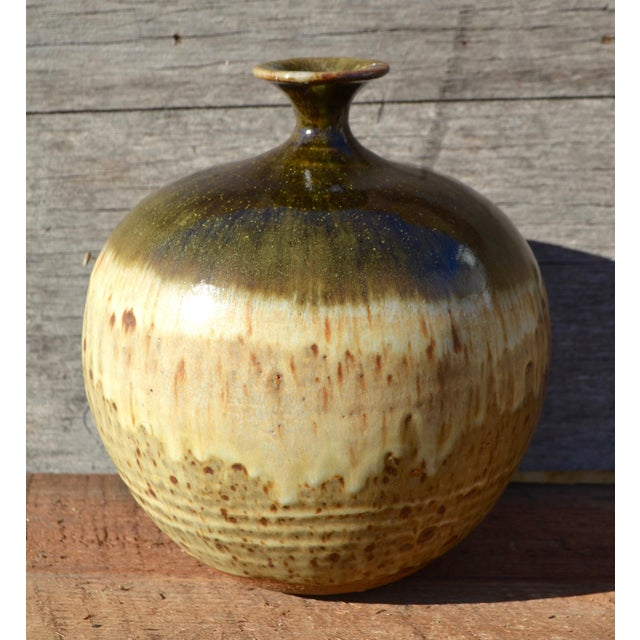 Vintage Ceramic Weed Pot in Olive Green and Earth Tones - Image 2 of 11