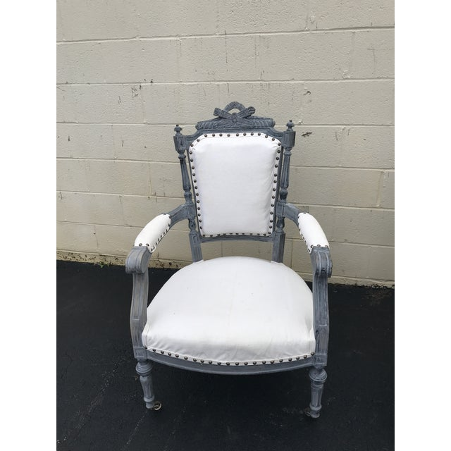 English Traditional Gray & White Dining Chairs - a Pair For Sale - Image 3 of 8