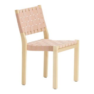 Chair 611 in Birch and Natural/Red Linen by Alvar Aalto & Artek For Sale
