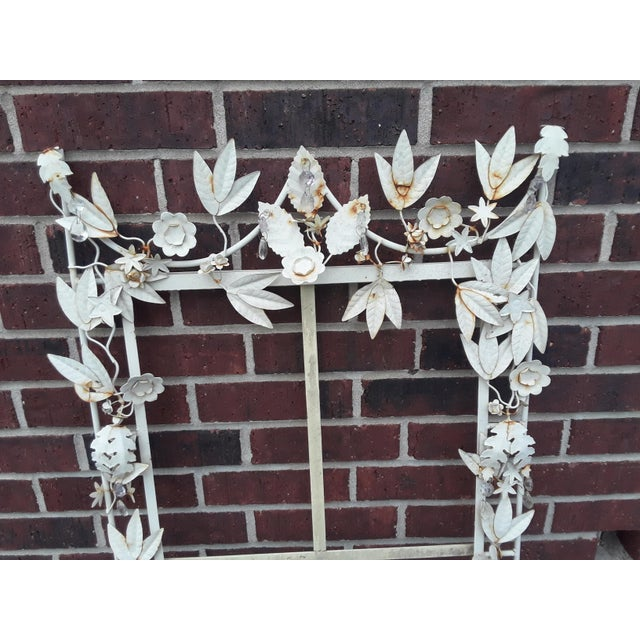 White White Tole Picture or Mirror Metal Frame With Flowers, Leaves and Crystals For Sale - Image 8 of 9