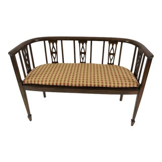 Italian Curved Fruitwood Loveseat Settee For Sale