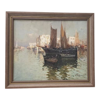 "G. Mariani (Italy, 20th C.) ""Bay of Naples"" Original Oil Painting For Sale"