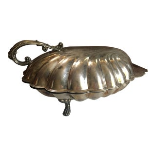 Vintage Sheffield Co. Lidded Clam Shell Serving Dish Ornate Handle and Legs For Sale