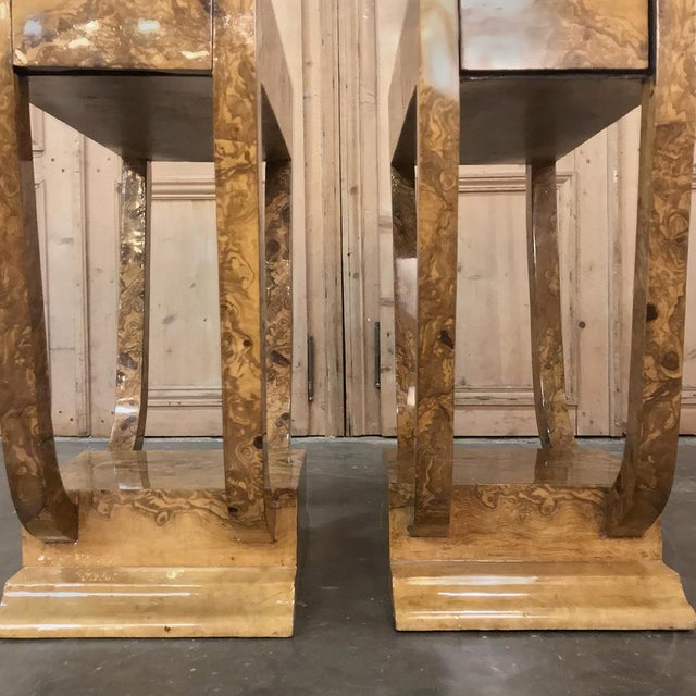 Brown Pair Art Deco Burl Walnut End Tables For Sale - Image 8 of 12