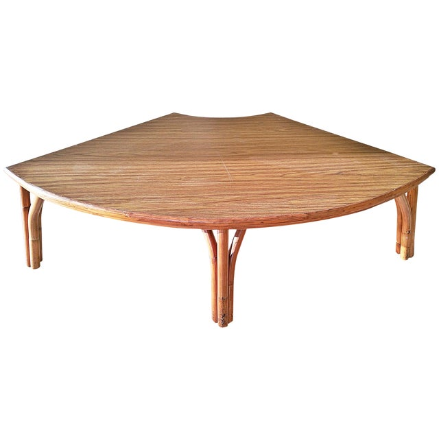 Midcentury Rattan Bamboo Coffee Table For Sale