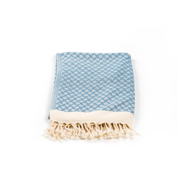 Modern Love Handmade Organic Cotton Towel in Marlin Blue For Sale - Image 4 of 5