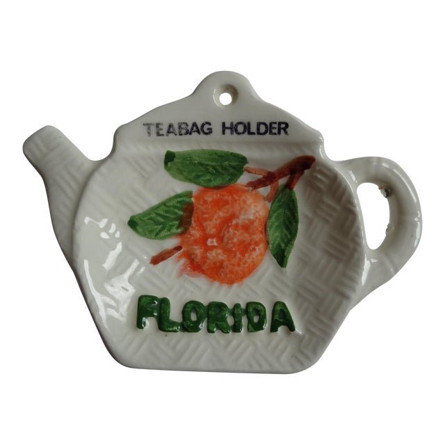 Mid-Century Ceramic Florida Teabag Holder For Sale