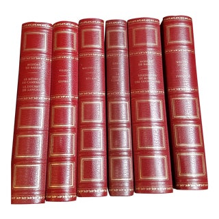 French Traditional Red Leather Books - Set of 6 For Sale