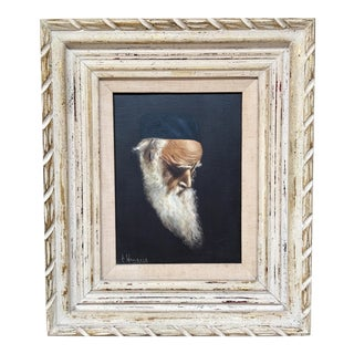 """Vintage Oil on Canvas by Carlo Wahlbeck """"Meditation"""" Black With White Frame For Sale"""