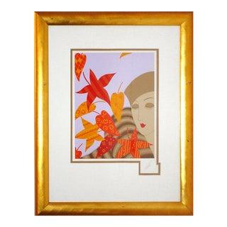 """1970s Erté, """"Autumn"""", Art Deco Screenprint For Sale"""